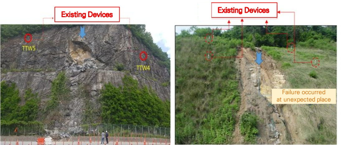 FIGURE 1. Views of failure occurred at unexpected place