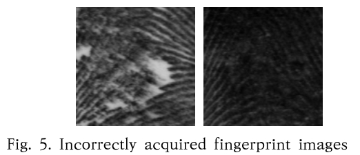 Fig. 5. Incorrectly acquired fingerprint images