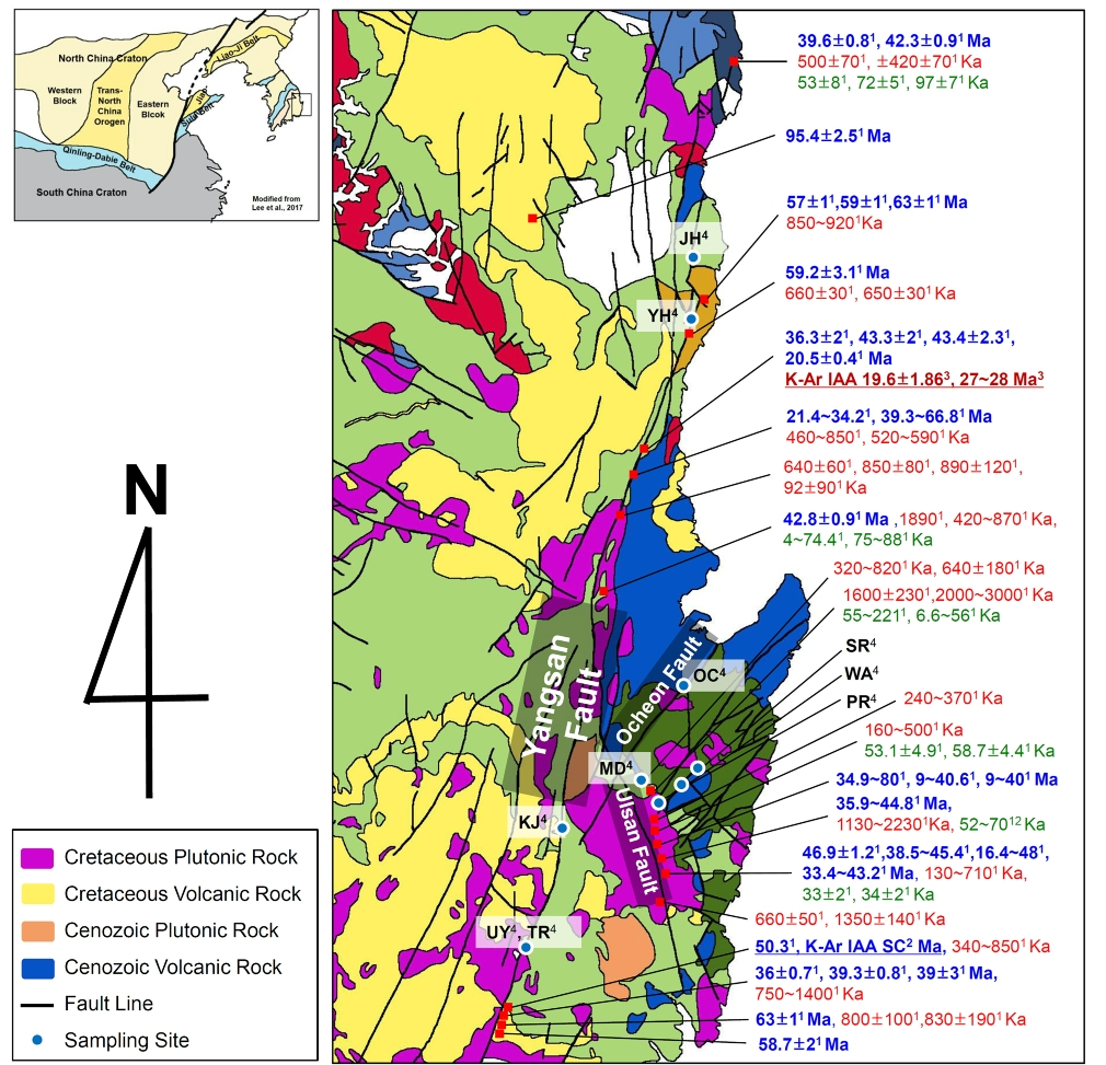 Fig. 1. Summary of the age-dating results for the faults occurred in the Gyeongsang basin. Geological map is modified from the map of KIGAM(1:1,000,000). The age-dating results collected from 1. KIGAM (2018), 2. Song et al. (2016), and 3. Sim et al. (2017). 4 is the sampling sites of this study. Blue color data are K-Ar age-dating results, red ones are ESR age results, and green ones are OSL age results.