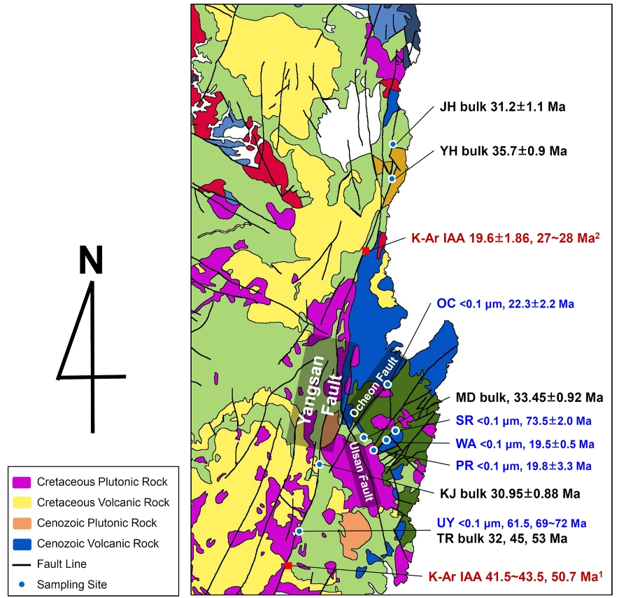 Fig. 5. Summary of the K-Ar age-dating results determined by this study and some previous studies for the major faults occurred in the Gyeongsang basin. Geological map is modified from the map of KIGAM(1:1,000,000). The K-Ar age-dating results collected from 1. Song et al. (2016) and 2. Sim et al. (2017).