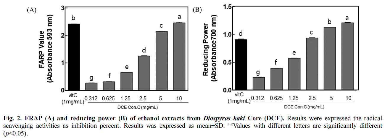 Fig. 2. FRAP (A) and reducing power (B) of ethanol extracts from Diospyros kaki Core (DCE).