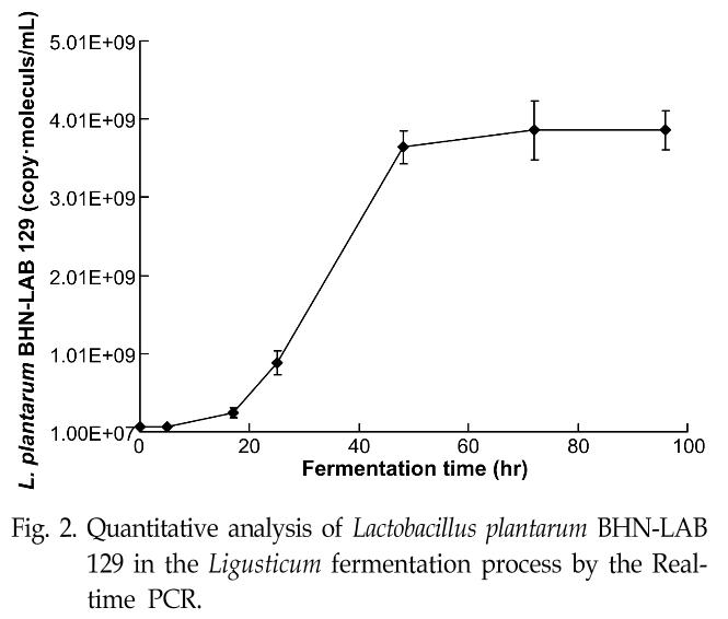 Fig. 2. Quantitative analysis of Lactobacillus plantarum BHN-LAB 129 in the Ligusticum fermentation process by the Realtime PCR.