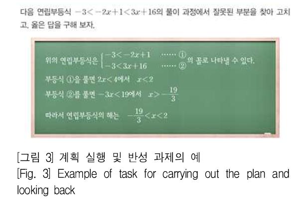 [그림 3] 계획 실행 및 반성 과제의 예 [Fig. 3] Example of task for carrying out the plan and looking back