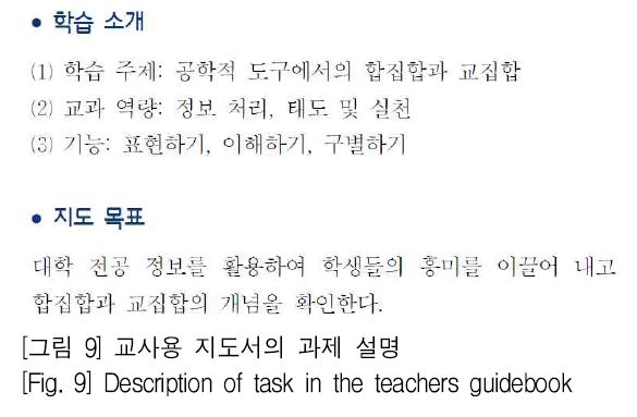 [그림 9] 교사용 지도서의 과제 설명 [Fig. 9] Description of task in the teachers guidebook