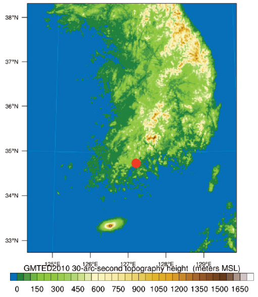 Fig. 1. The topography height (m) with a bold red circle denoting the location of the NCIO (National Center for Intensive Observation of Severe Weather).