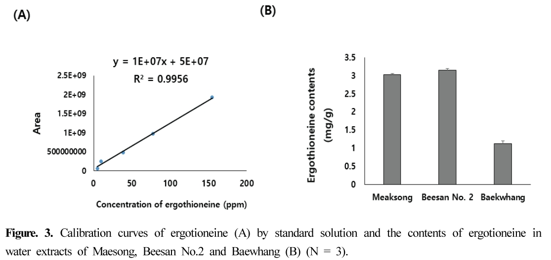 Figure. 3. Calibration curves of ergotioneine (A) by standard solution and the contents of ergotioneine in water extracts of Maesong, Beesan No.2 and Baewhang (B) (N = 3).