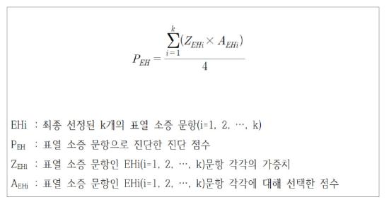 Figure 1. Exterior heat ordinary symptoms score calculation formula